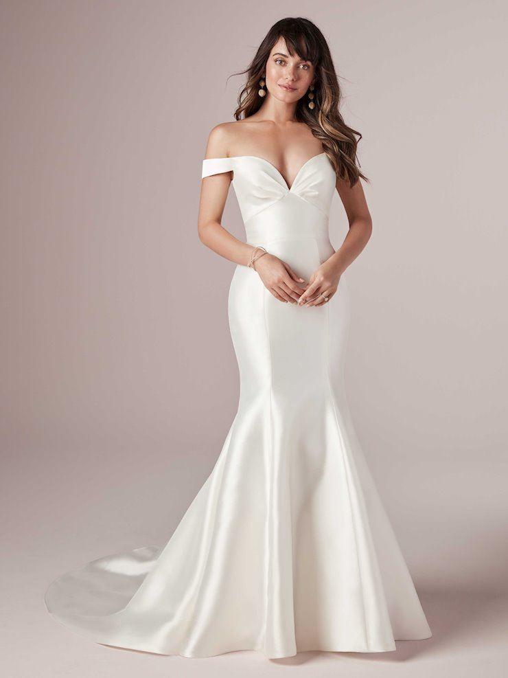 Model wearing a gown by Rebecca Ingram. Desktop image